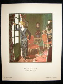 Gazette du Bon Ton by Brissaud 1922 Art Deco Litho. Tete a Tete